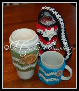"""Chasing Chevrons"" Cozies: Coffee Sleeve, Cozy Mug & Water Bottle"
