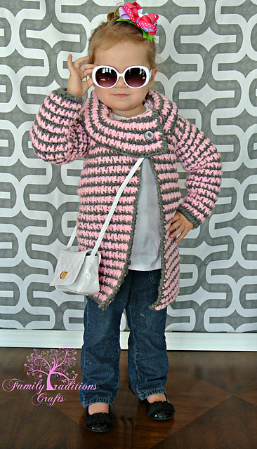 Crochet Pattern: Girls Vintage Houndstooth Jacket by A Crocheted Simplicity