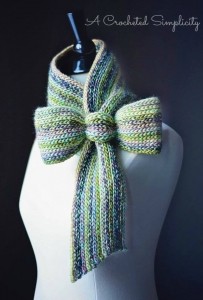 """Crochet Pattern: """"Knit-Look"""" Bow Tie Cowl by A Crocheted Simplicity"""