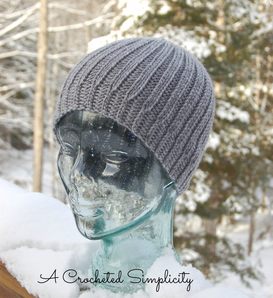 "Men's ""Knit-Look"" Reversible Beanie crochet pattern by A Crocheted Simplicity"