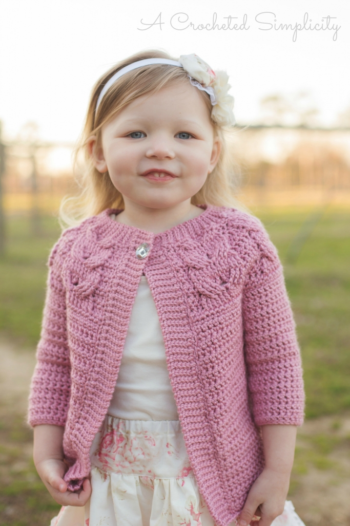 Southern Charm Cabled Cardigan Red Heart Soft Yarn A Crocheted