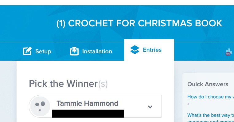 Crochet for Christmas Book Winner Blacked Out