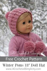 "Free Crochet Pattern - Winter Poms 18"" Doll Hat by A Crocheted Simplicity #crochet #freecrochetpattern #crochetdollhat"