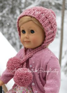 """Winter Poms"" 18″ Crochet Doll Hat – Free Crochet Pattern"