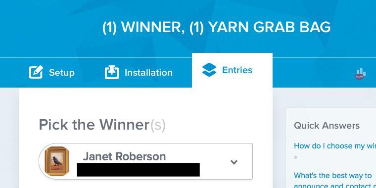 Yarn Grab Bag Winner BLACKED OUT