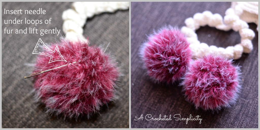 DIY Fur Poms using Fun Fur: Tutorial from A Crocheted Simplicity