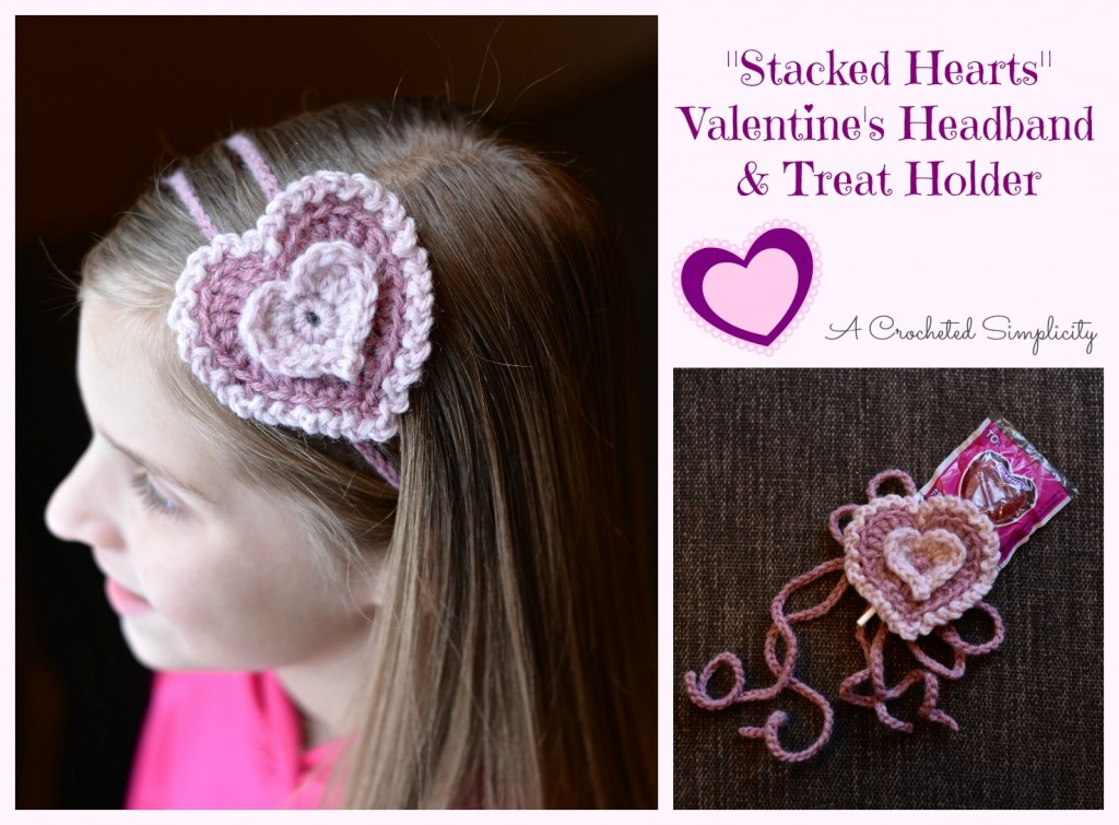 "Free Crochet Pattern | ""Stacked Hearts"" Valentine's Headband & Treat Holder by A Crocheted Simplicity"