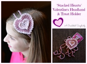 "Free Crochet Pattern | ""Stacked Hearts"" Headband & Treat Holder"