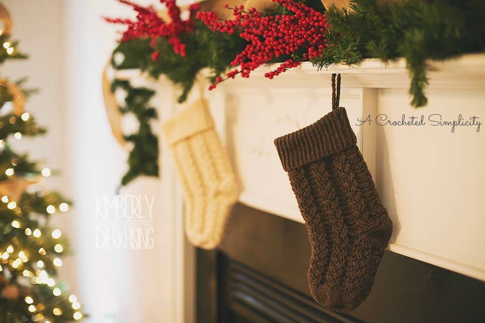 Braided Cables Christmas Stocking Crochet Pattern by A Crocheted Simplicity