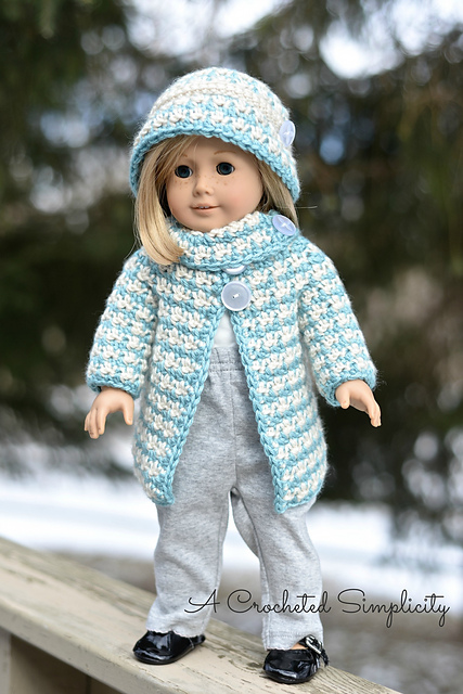 "Crochet Pattern: 18"" Doll Houndstooth Jacket & Cloche by A Crocheted Simplicity"