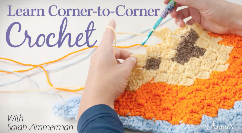 Learn to Corner-to-Corner Crochet with Sarah Zimmerman of Repeat Crafter Me and Annies Video Classes!
