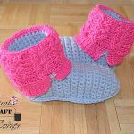 "Crochet Pattern - Kids' ""Kickin' Cables"" Slipper Boots by A Crocheted Simplicity"
