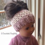 Free Crochet Pattern - Linen Stitch Messy Bun Doll Hat by A Crocheted Simplicity