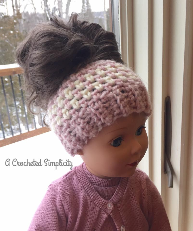 Free Crochet Pattern - Linen Stitch Messy Bun Doll Hat by A Crocheted Simplicity