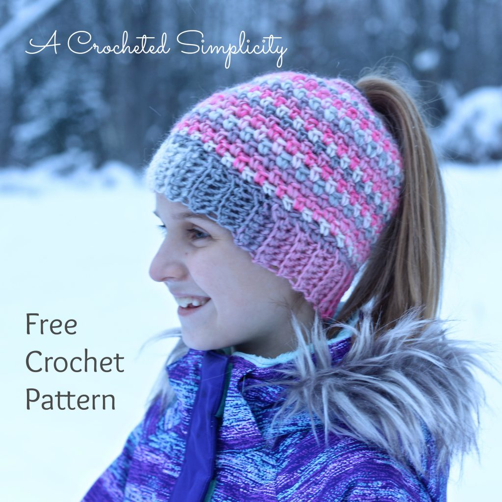 Free Crochet Pattern: Linen Stitch Messy Bun / Ponytail Hat by A Crocheted Simplicity