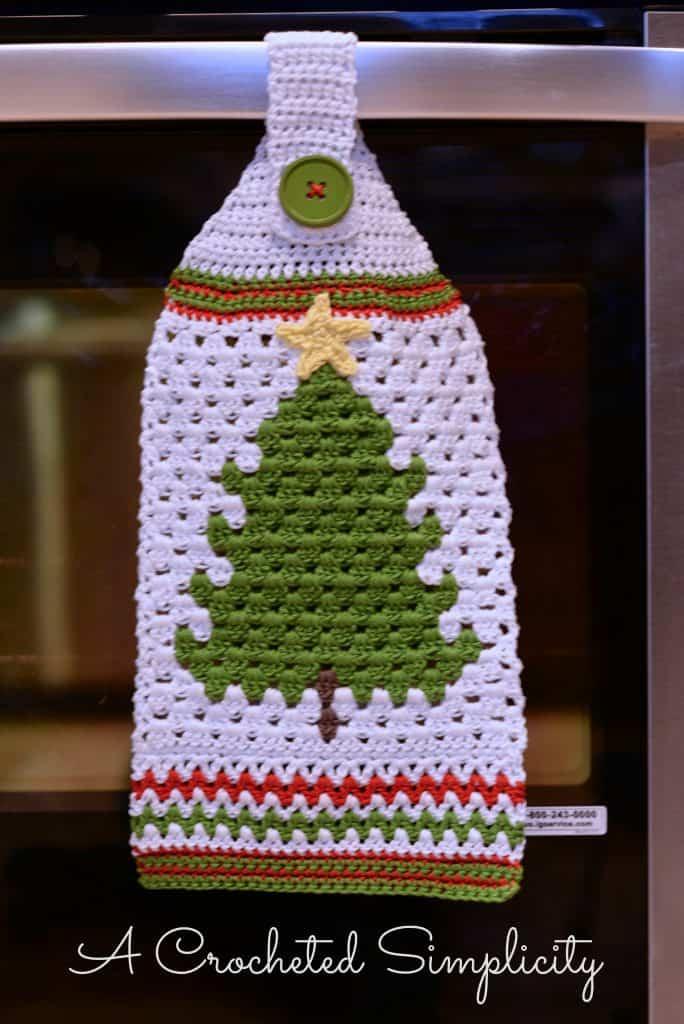 Free Crochet Pattern Retro Christmas Tree Towel A