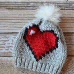 Free Crochet Pattern 8-bit-heart-crochet-slouchy by Whistle & Ivy