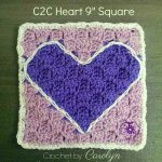 Free Crochet Pattern C2C-Heart-9-inch-Square-by-The-Purple-Poncho