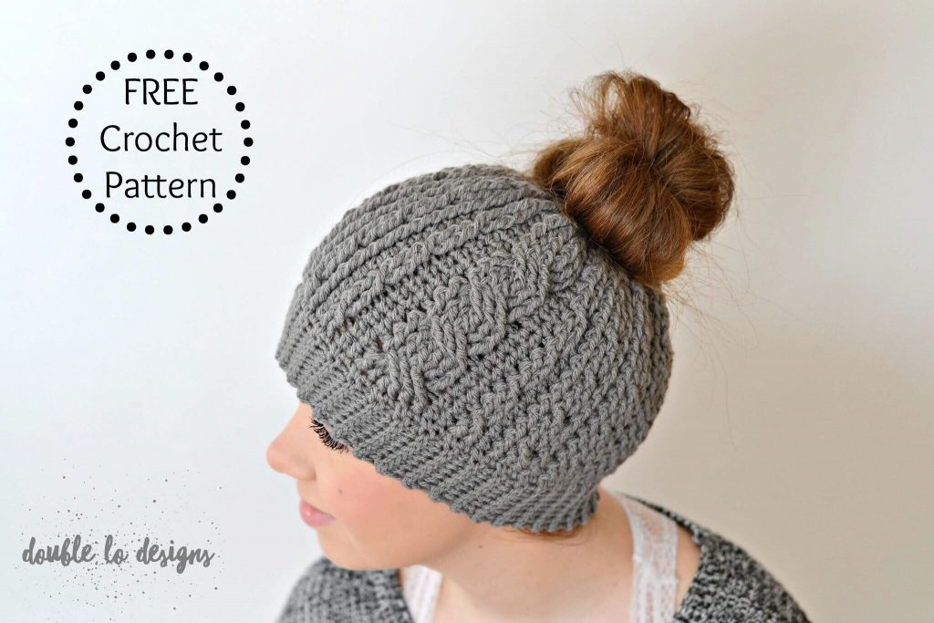 Free Crochet Pattern Crochet Cabled Messy Bun Hat Adult Sizes