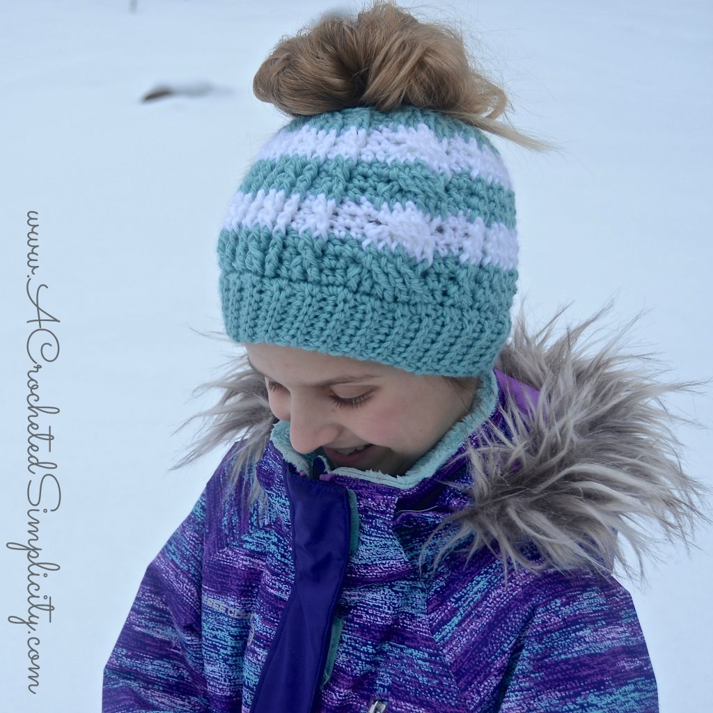 Free Crochet Pattern - Cabled Messy Bun (video tutorial included) by A Crocheted Simplicity