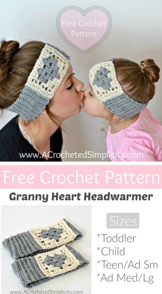 d38db50b27e Free Crochet Pattern - Granny Heart Headwarmer by A Crocheted Simplicity
