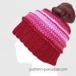 Free Crochet Pattern - Be Mine Messy Bun by Pattern Paradise