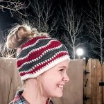 Free Crochet Pattern - Brain Waves Messy Bun Hat by Playin Hooky
