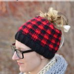 Free Crochet Pattern - Messy Bun Plaid Hat by Whistle Ivy
