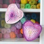 Free Crochet Pattern Will You Be My Valentine? Ombre Heart Coaster by LillaBjorn Crochet