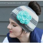 Free Crochet Pattern - Messy Bun Hat by Daisy Cottage Designs