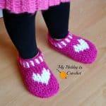 free crochet pattern heart & sole slippers small