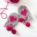 Free Crochet Pattern Baby-Heart-Mittens by One Dog Woof
