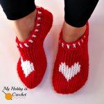 Free Crochet Pattern Heart & Sole Slippers