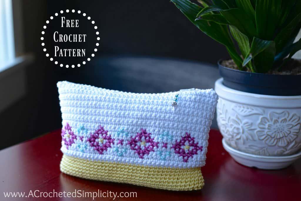 Free Crochet Pattern Cross Stitch Make Up Bag Pouch