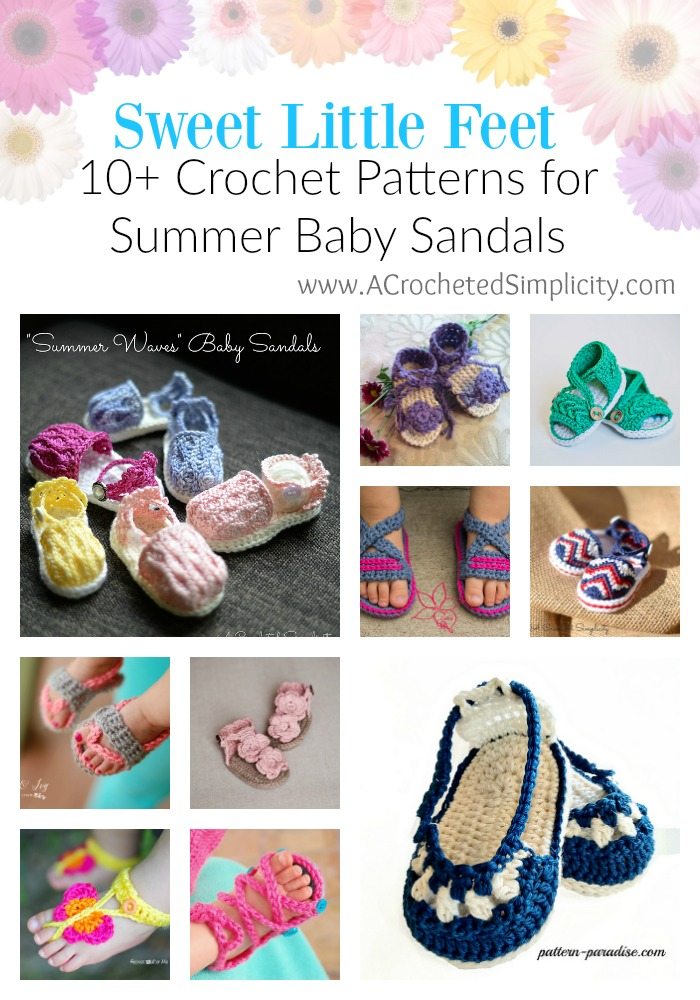 Sweet Little Feet Crochet Pattern RoundUp Summer Baby Sandals Adorable Crochet Baby Sandals Pattern