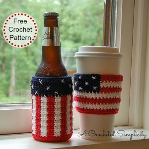 "Free Crochet Pattern - ""Celebrate"" Cozy & Coffee Sleeve by A Crocheted Simplicity Patriotic Crochet Project"