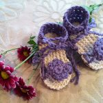 Crochet Pattern - Purple Flower Tie Sandals by Pattern Paradise