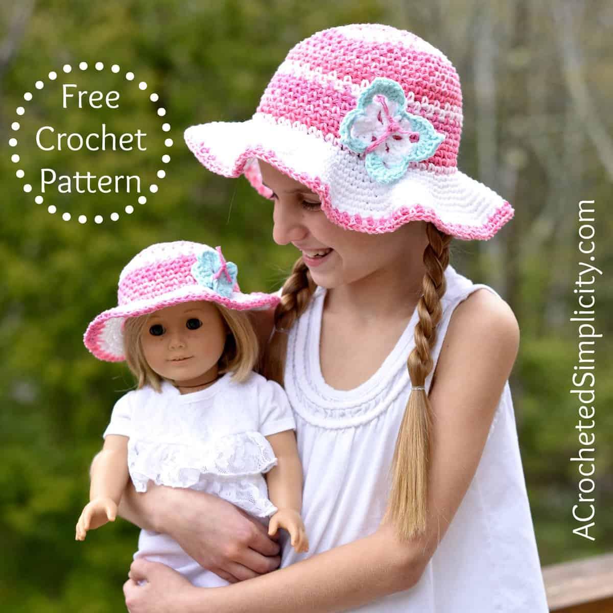 Free Crochet Pattern Kids Linen Stitch Sunhat A Crocheted Simplicity