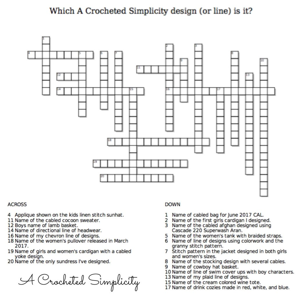 Crochet Crossword - What A Crocheted Simplicity deisgn (or line) is it?