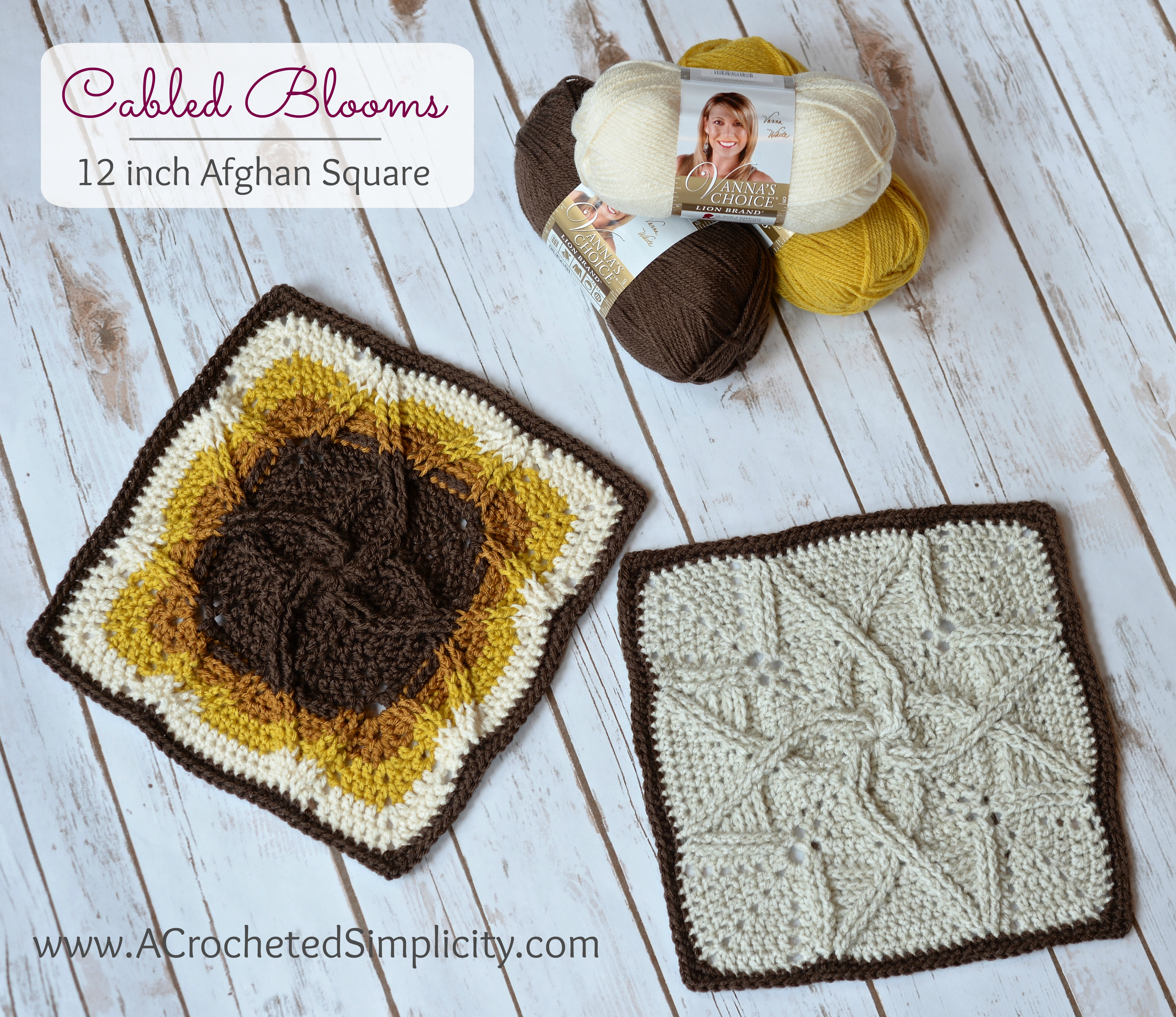 Free Crochet Pattern Cabled Blooms 12 Inch Afghan Square A