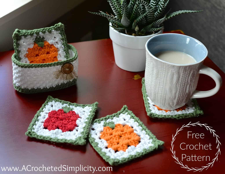 Free Crochet Pattern - Fall Harvest Coaster Set - A Crocheted Simplicity