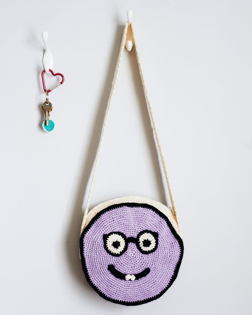 Brainiac Bag Crochet Pattern from the book Emoji Crochet by designer Charles Voth