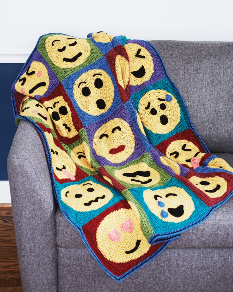 25's a Crowd Blanket Crochet Pattern from the book Emoji Crochet by designer Charles Voth
