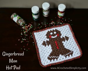 Free Crochet Pattern - Gingerbread Man Hot Pad by A Crocheted Simplicity