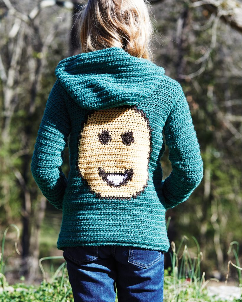 Big Grin Hoodie Crochet Pattern from the book Emoji Crochet by designer Charles Voth