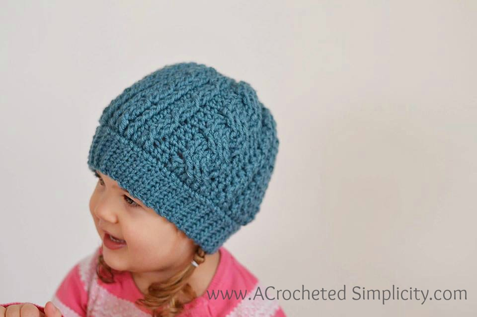 Free Crochet Pattern Crochet Cabled Beanie Toddler Adult