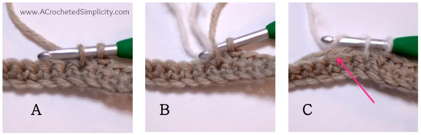 How to Crochet: Color Changes - a photo tutorial by A Crocheted Simplicity