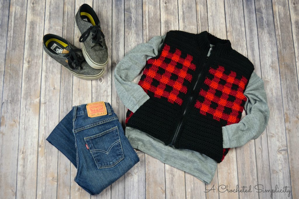 Crochet Pattern - Kids Plaid Vest by A Crocheted Simplicity
