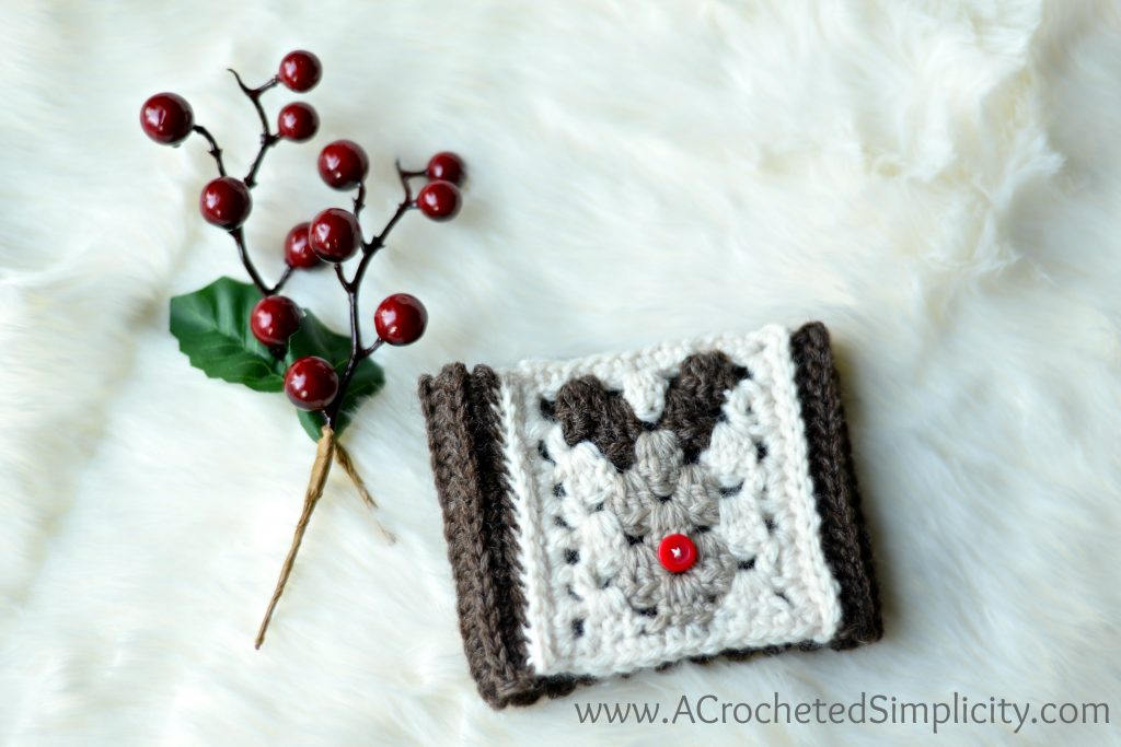 Free Crochet Pattern - Reindeer Coffee Sleeve/Cozy by A Crocheted Simplicity