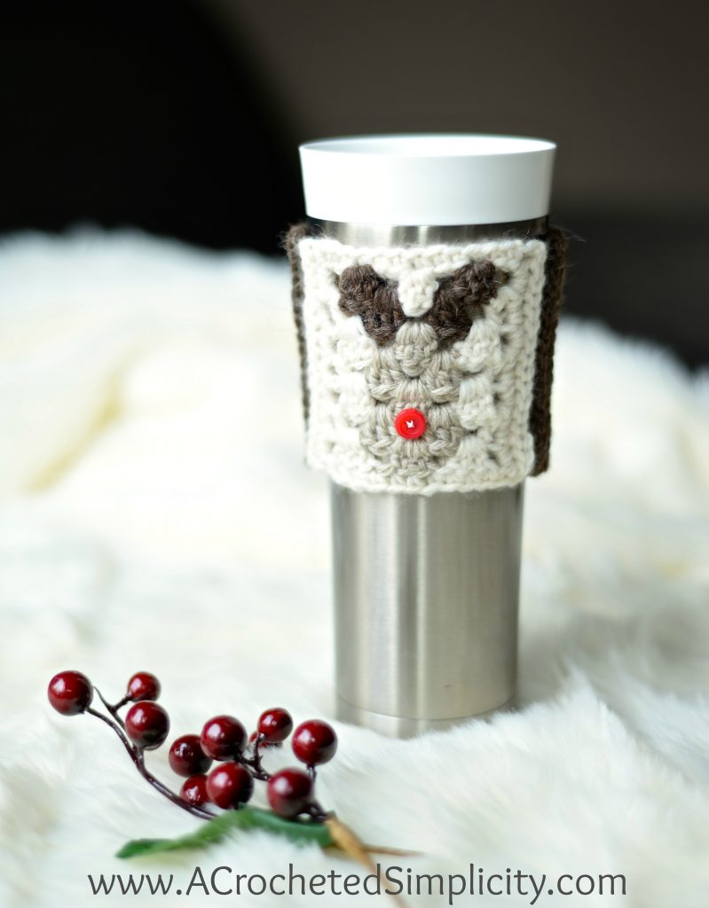 Free Crochet Pattern - Reindeer Coffee Sleeve / Cozy by A Crocheted Simplicity